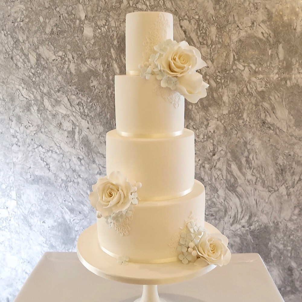 4 tier Wedding Cake with Sugar Flowers
