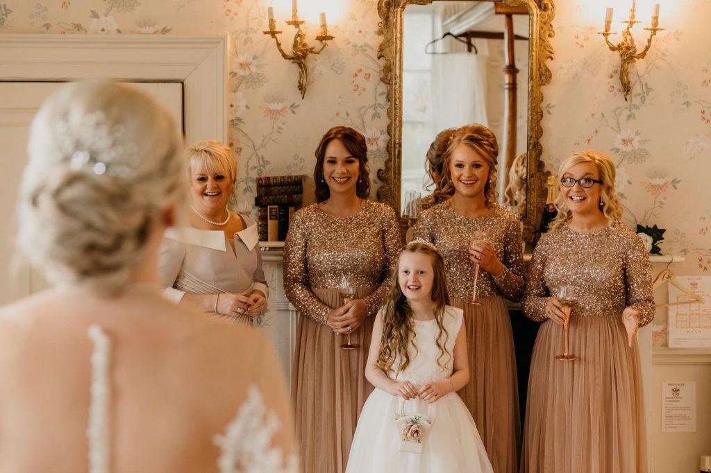 Bride's mum and bridesmaids first look at bride, Danielle & Gerard, Wedding Blog, Gemma's Cakes