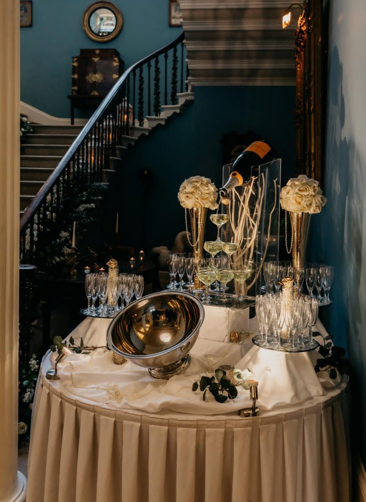 Champagne fountain at Danielle & Gerard's wedding at Drenagh Estate